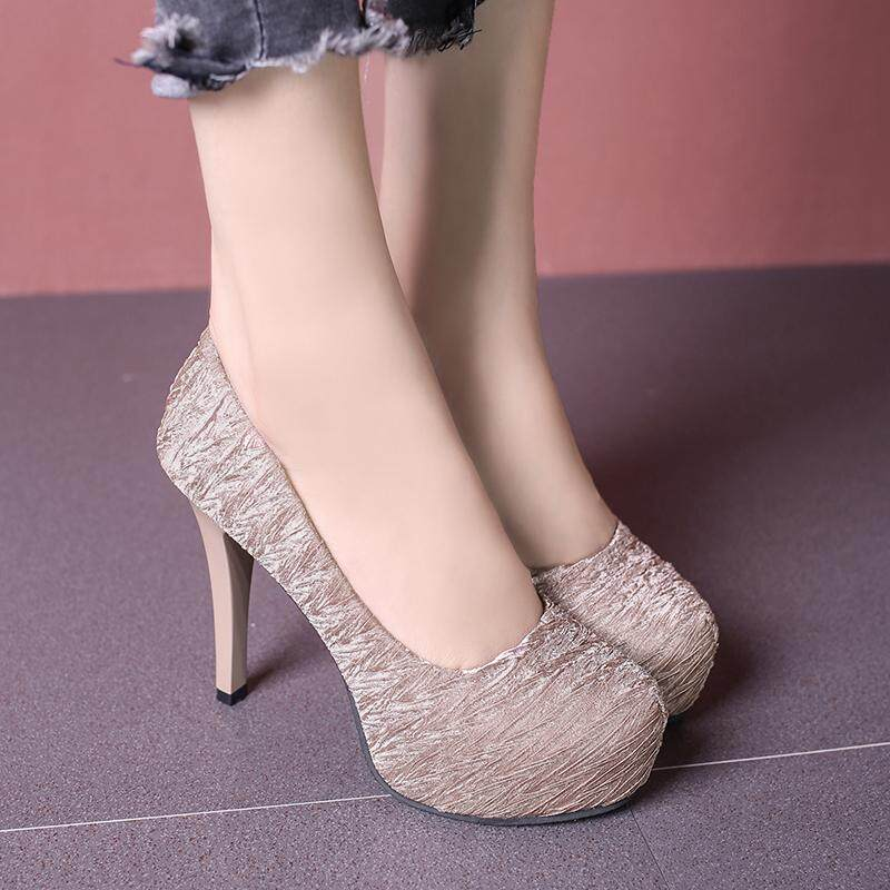 Ladies Clubwear Shoes Faux Suede Bling Platform High Heels Pumps