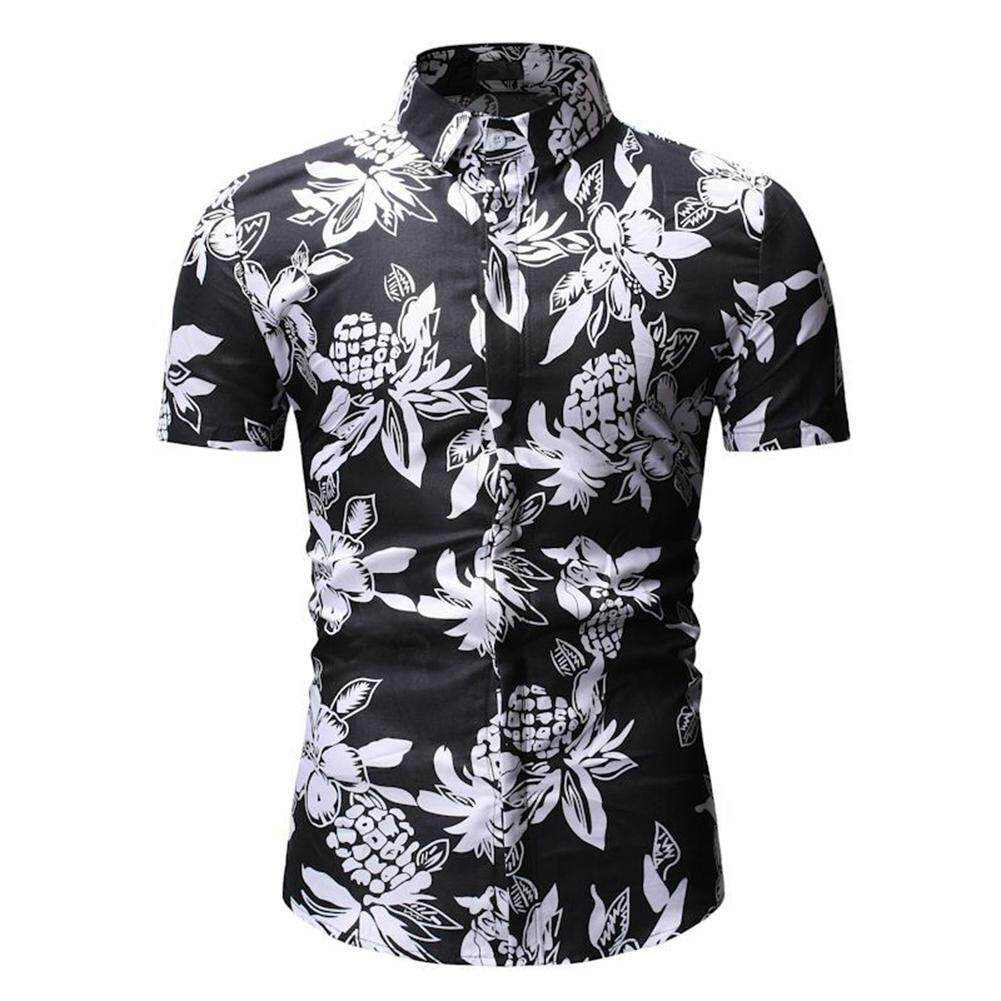 0430cb05e [Ready Stock]ClothC MallMen's Casual Shirt Summer Floral Flower Printed Men  Short Sleeve Shirt