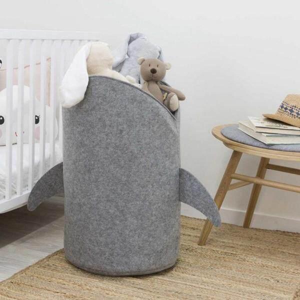 Fityle Shark Design Felt Cloth Folding Laundry Storage Basket Toy Storage Bag