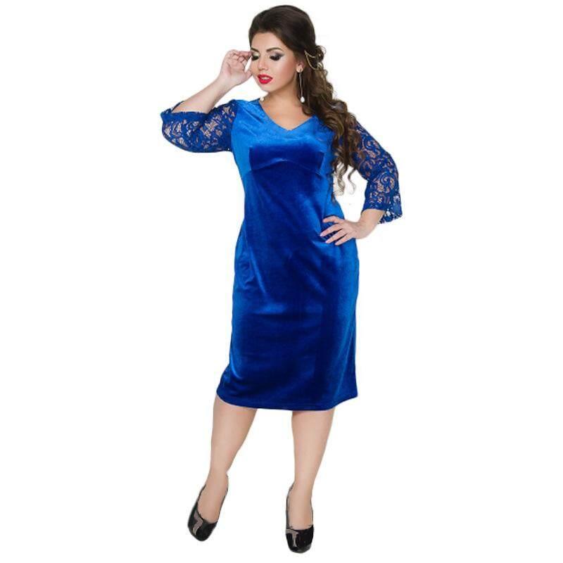 4dbbf8f67a COCOEPPS Plus Size Lace Women tunic Dresses 2017 winter Big Sizes velvet  Dress Large Size Sexy