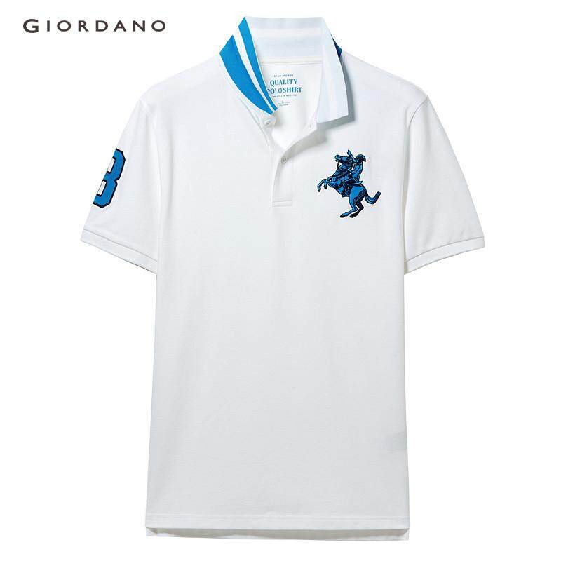 67a932f8 Giordano Men Polo Shirts Embroidered Napoleon Stretchy Pique Fabric Polo T- Shirt For Men Beau