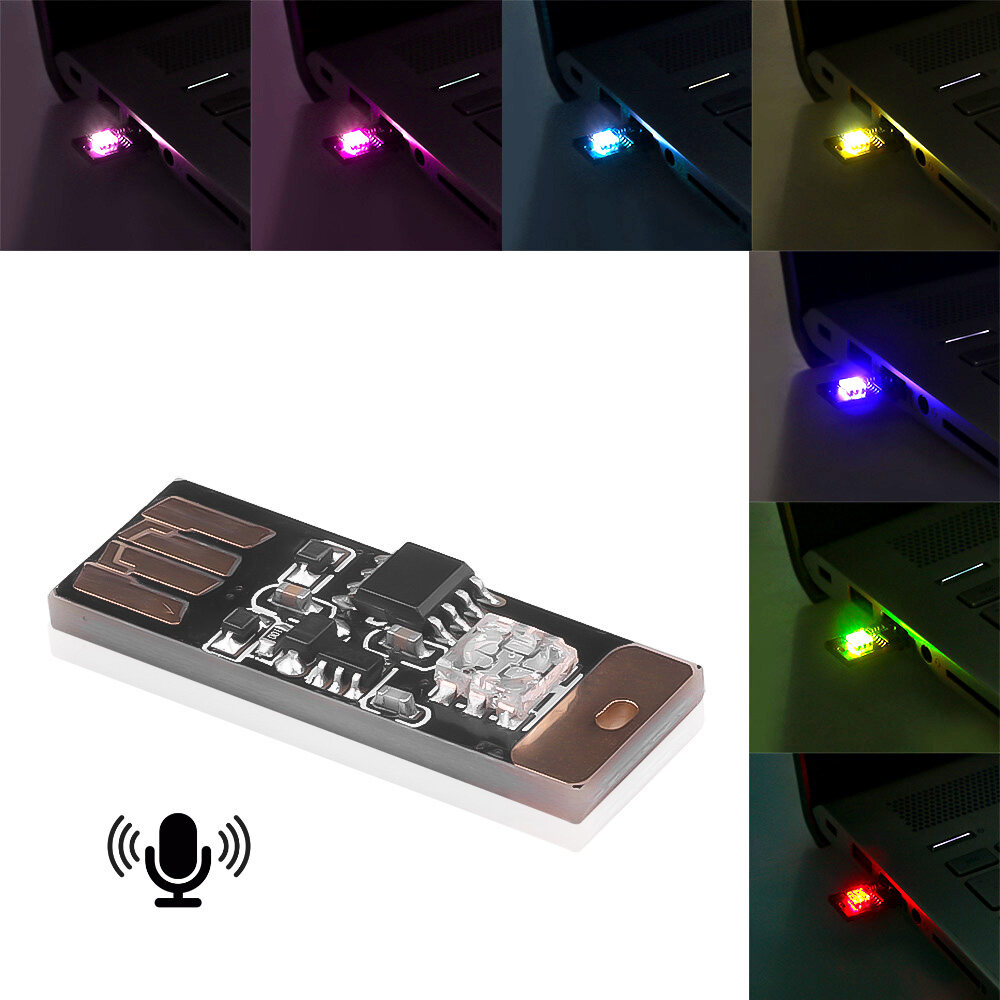 2PCS LED Smart USB Sound Control Induction Colorful Music Rhythm Lamp Ambient RGB Interior Voice-activated Decorative Light Atmosphere Brightness Adjustable