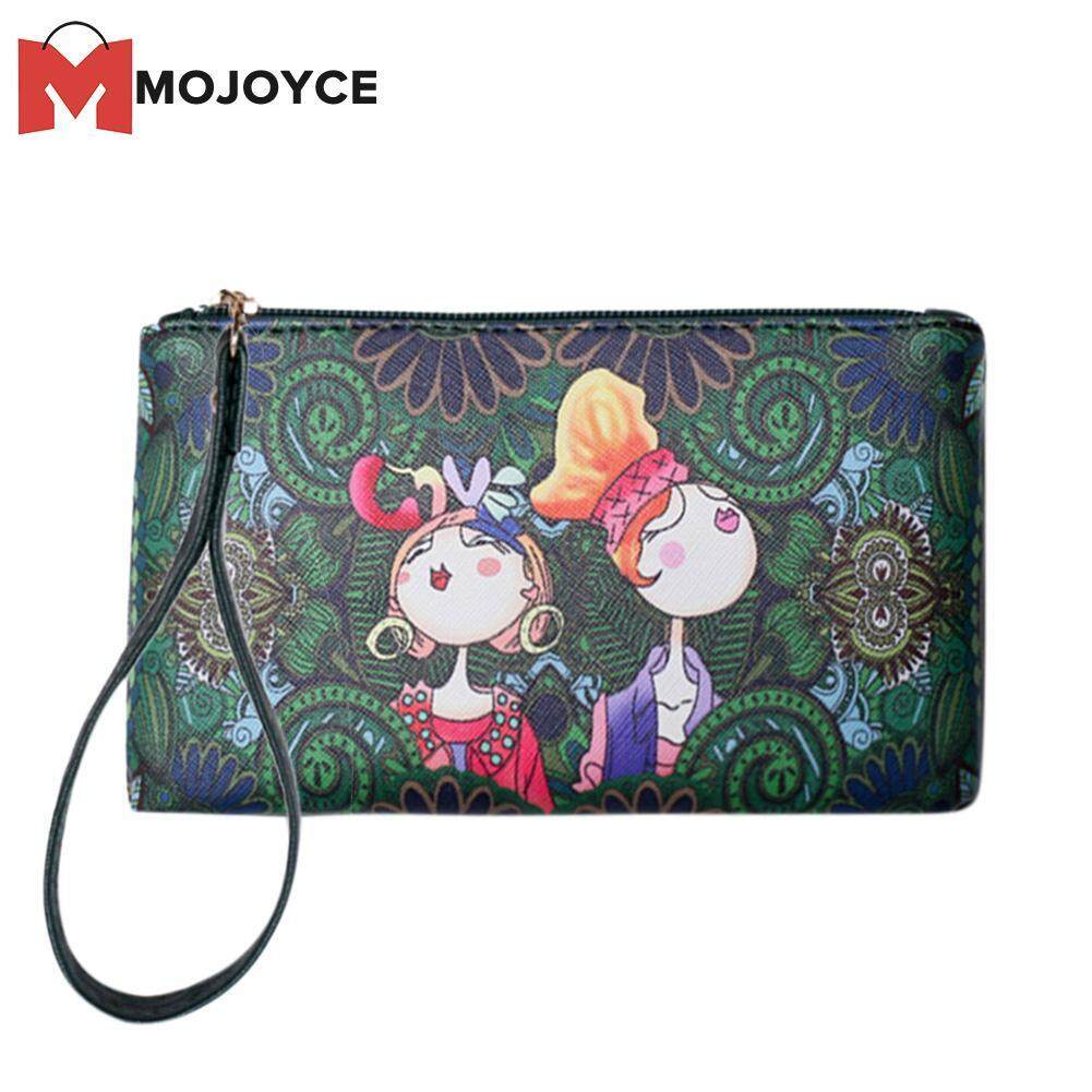 26ee5ec1ec MOJOYCE Women Vintage Chic Cartoon Printed Long Clutch PU Leather Purse  Wallets Wristlet
