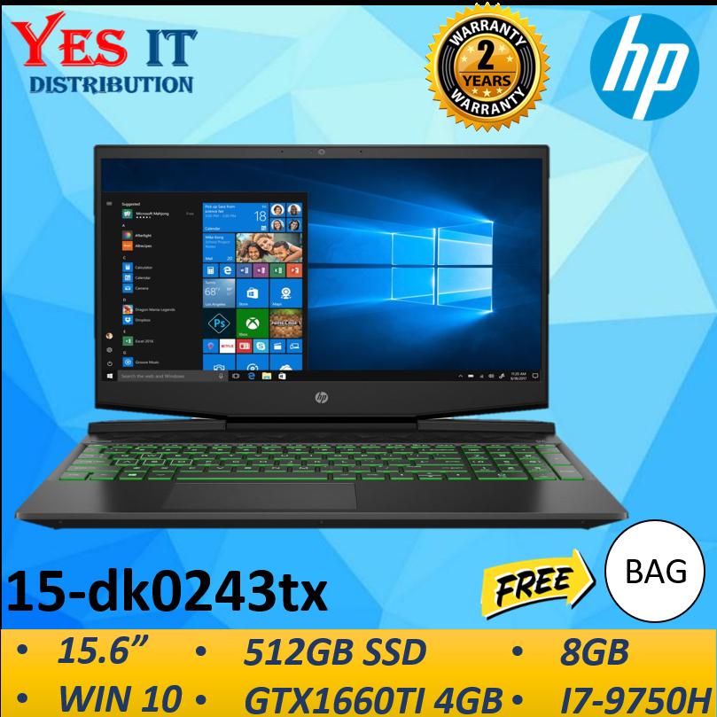 HP Pavilion Notebook 15-dk0243tx Laptop (I7-9750H/8GB/512GB SSD/GTX1660TI 4GB/W10) Malaysia