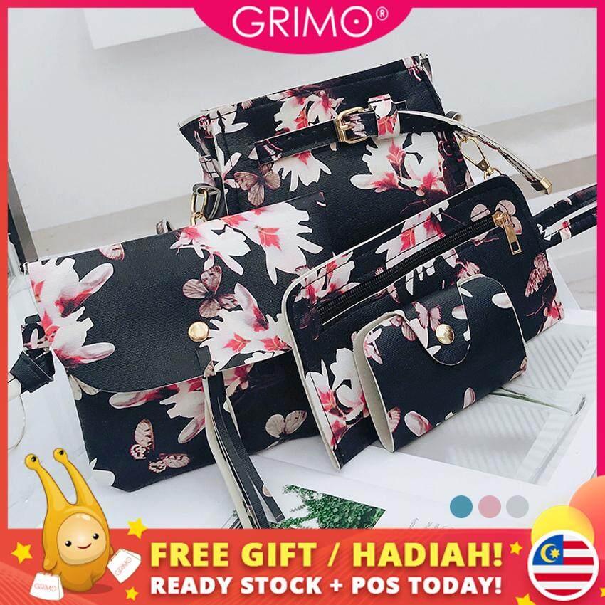 GRIMO Malaysia - Flower 4 in 1 Versatile Shoulder Bag Set PU Sling Beg Handbag Women