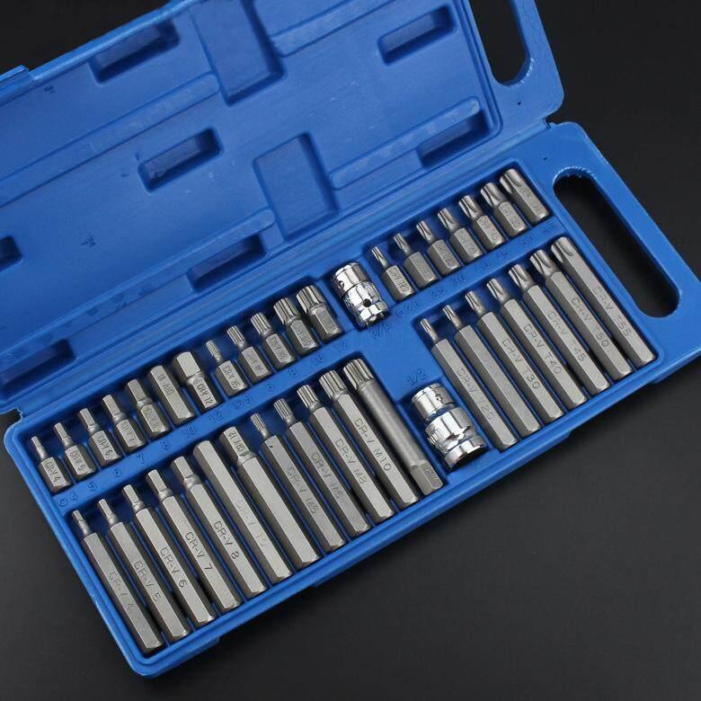 MG 40Pcs 1/2in 3/8in Adaptor Drive Shank Hex Torx XZN Spline Star Impact Socket Set Metric Socket Set Ratchet Driver Socket Wrench