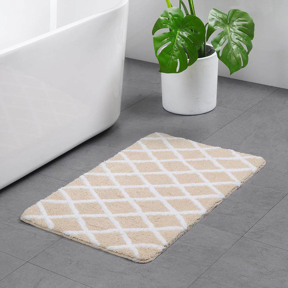 Micro Fiber Water Absorption Nonslip Rhombus Flocking Floor Mat for Bathroom
