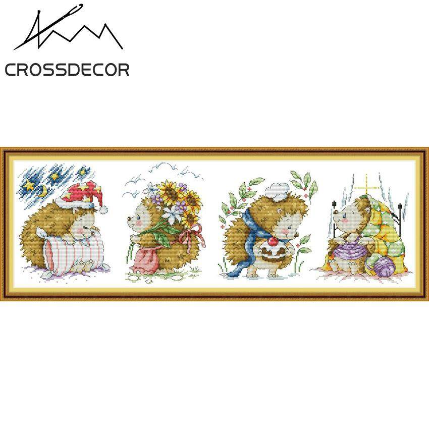 New Arrival Happy Little Hedgehog CrossDecor Stamped Cross-Stitch Complete Set DIY Handmade Embroider Needlework 11CT Pre-Printed On the Cloth Modern Style Home Room Decor DMC Complete Kits