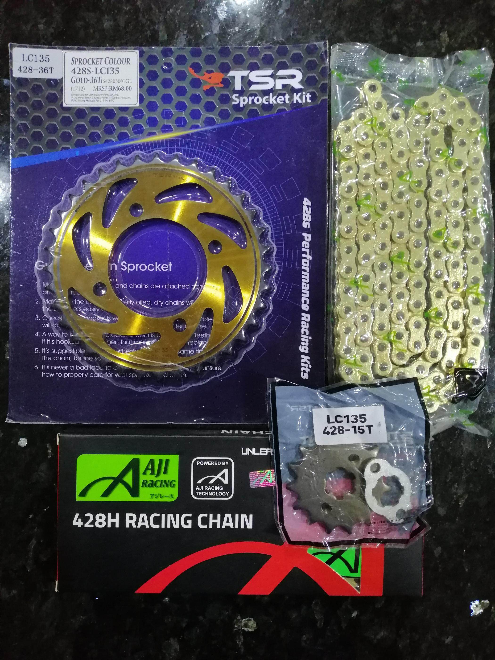 [100% ORIGINAL /HEAVY DUTY ] TSR LC135/Y125Z SPROCKET SET 428H-15T (DEPAN )  428H-36T (BELAKANG)GOLD + AJI RACING CHAIN[HD] 428HX122L (GOLD)