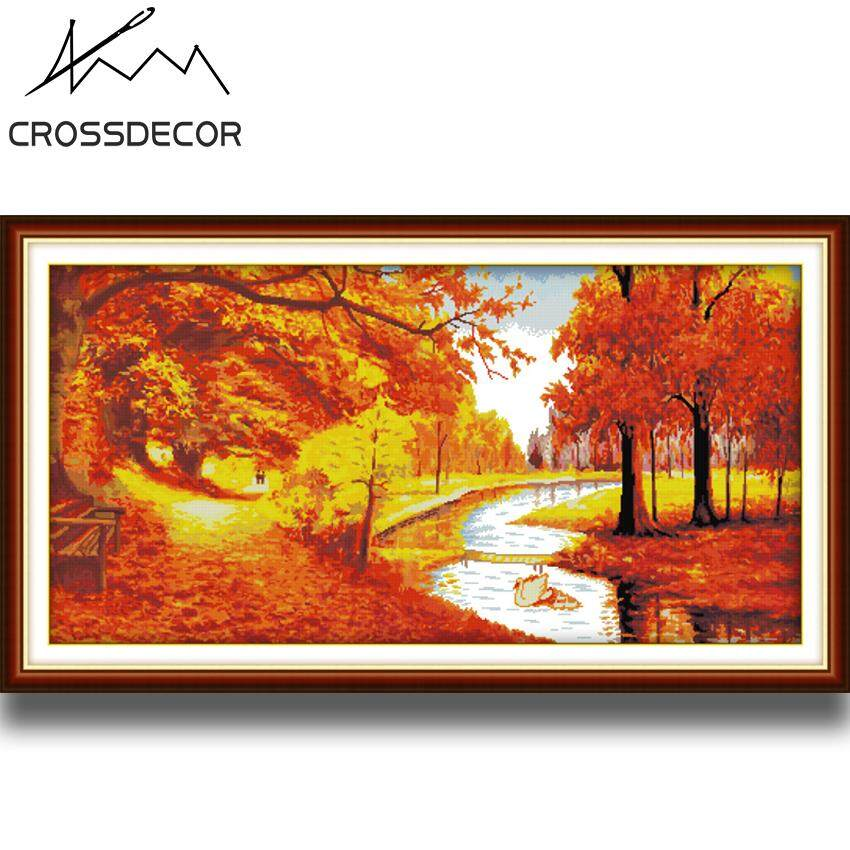 Golden Autumn Good Luck Precise Stamped Cross-Stitch Complete Set DIY Handmade Embroidery Needlework 14CT DMC Complete Kits Pre-Printed On the Cloth Home Room Office Decor