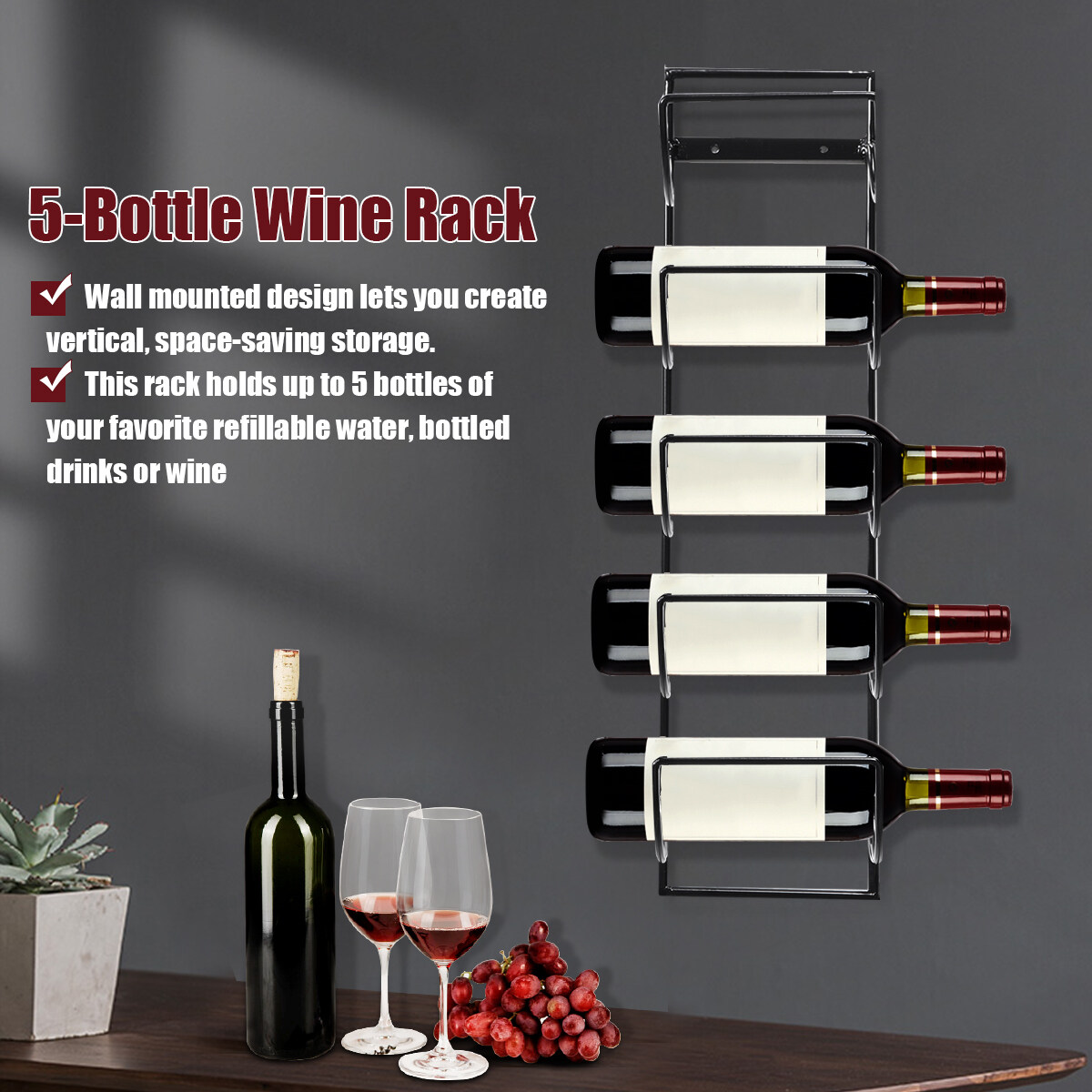 5 Bottle Wine Rack Black Metal Wall Mounted Storage Holder Shelf Kitchen Vine Lazada Ph