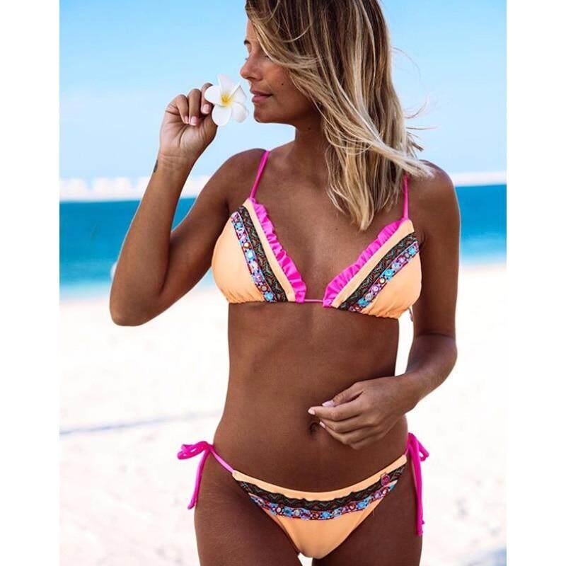 10a566f79a0 Brazilian Bikini Set Women Thong Swimwear Sexy Summer Bathing Suit Ruffle  Back Swimming Suit Bather Biquini