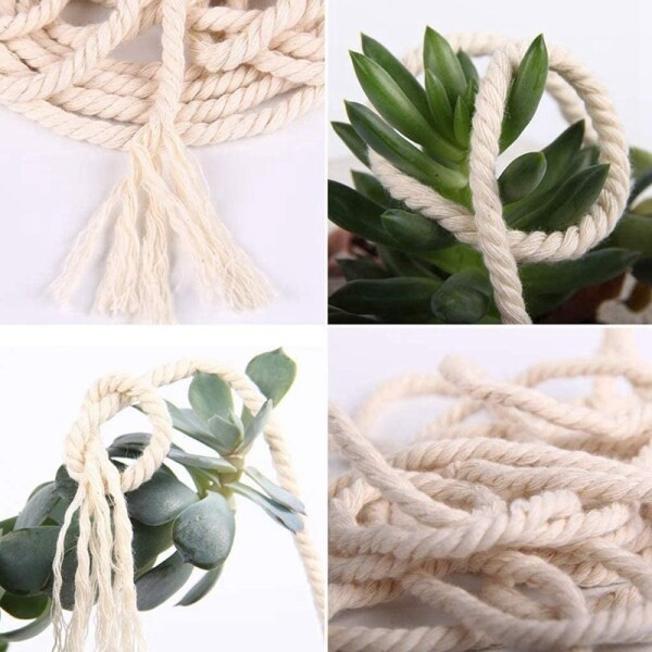 227Pcs 3mm Natural Cotton Rope Kit with Wooden Rings and Sticks and Wooden Beads for DIY Wall Hanging Craft Knitting