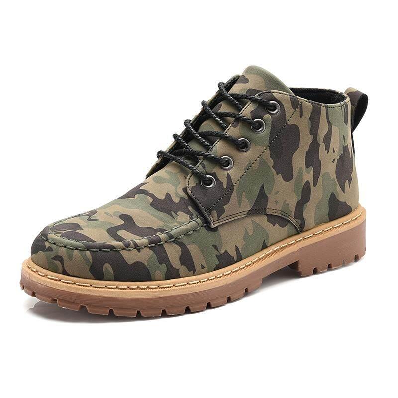 ทนทานผู้ชายกลางแจ้งรองเท้าสำหรับใส่ทำงานกลาง Top ปีนเขารองเท้า Camouflage รองเท้าเดินป่ารองเท้ากีฬากลางแจ้งรองเท้าปีนเขารองเท้าบูทหุ้มข้อ By Wanxiang Mart.