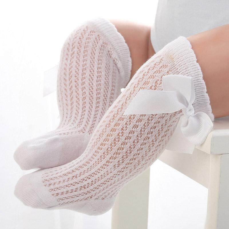 cc801e83ce136 Cute Bowknot Baby Socks Cotton Bows Baby Girls Knee Socks Spring Summer  Mesh Kids Infant Toddler