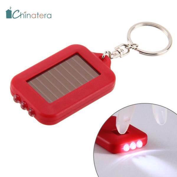[[Chinatera] Mini Di Động Đa Năng Năng Lượng Mặt Trời 3 Đèn Led Đèn Pin Móc Khóa Phụ Kiện Ngoài Trời Đèn