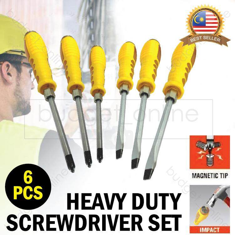 6 Pieces Screwdriver Set Hammer Heavy Duty Magnetic Tips Rubber Grip