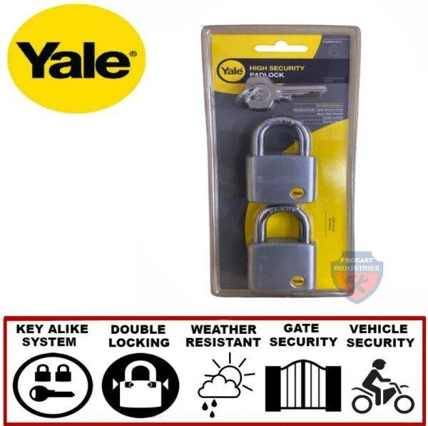Yale Y120/50/127/2 Satin Chrome Padlock Keyed Alike System - 50mm x 2pcs