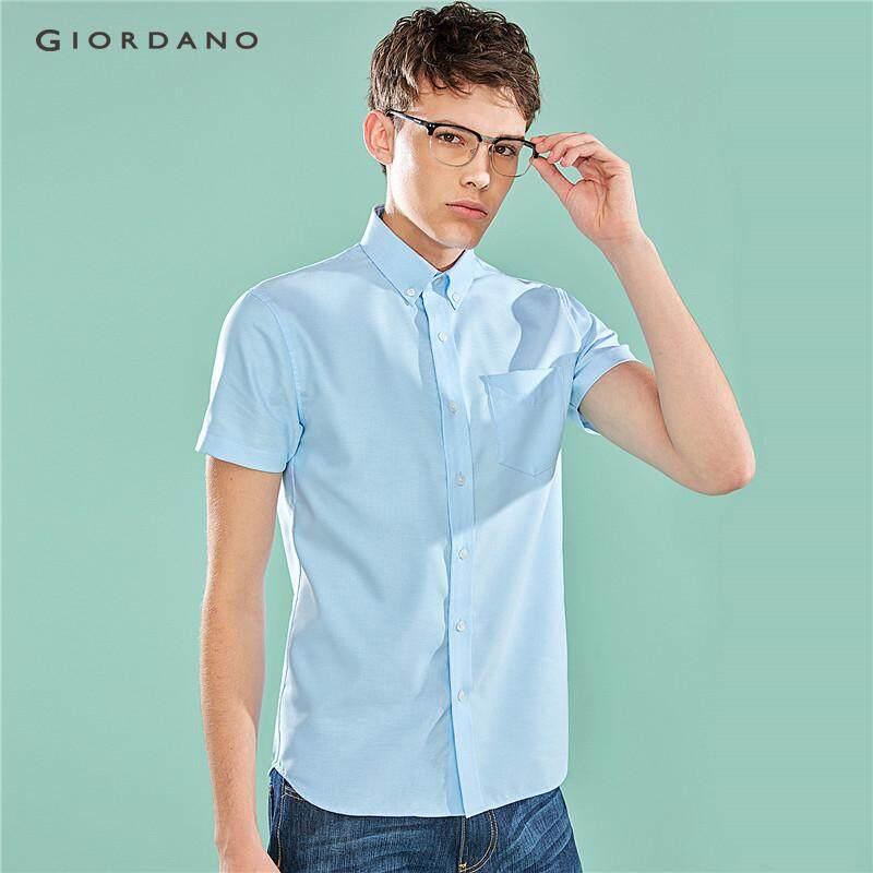 e2ab5b532 Giordano Men Shirts Oxford Shirt Wrinkle-Free Modern Slim Fit Short Sleeves  Turn-Down