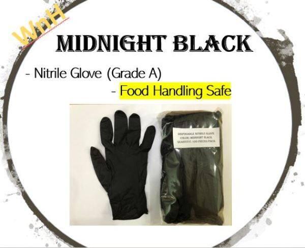 [ Food Handling ] Midnight Black Nitrile Glove (100pcs-seal pack)