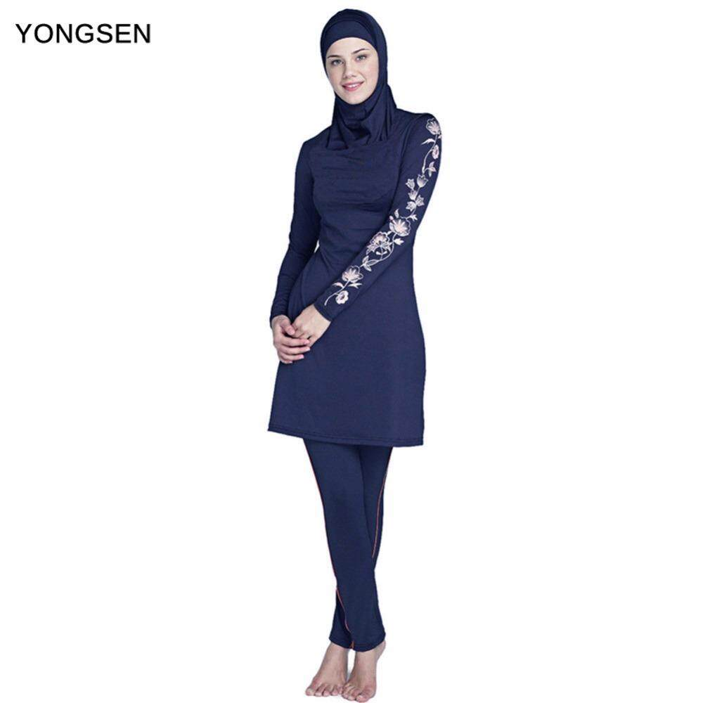 b0d6c61454 YONGSEN 2019 New Burkinis Muslim Swimsuit Modest Clothing Islamic 3 Pieces  Separated Women Wear Long muslimah