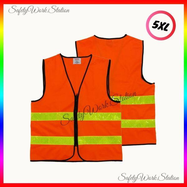 SAFETY VEST ORANGE WITH 2 YELLOW REFLECTOR (READY STOCK)