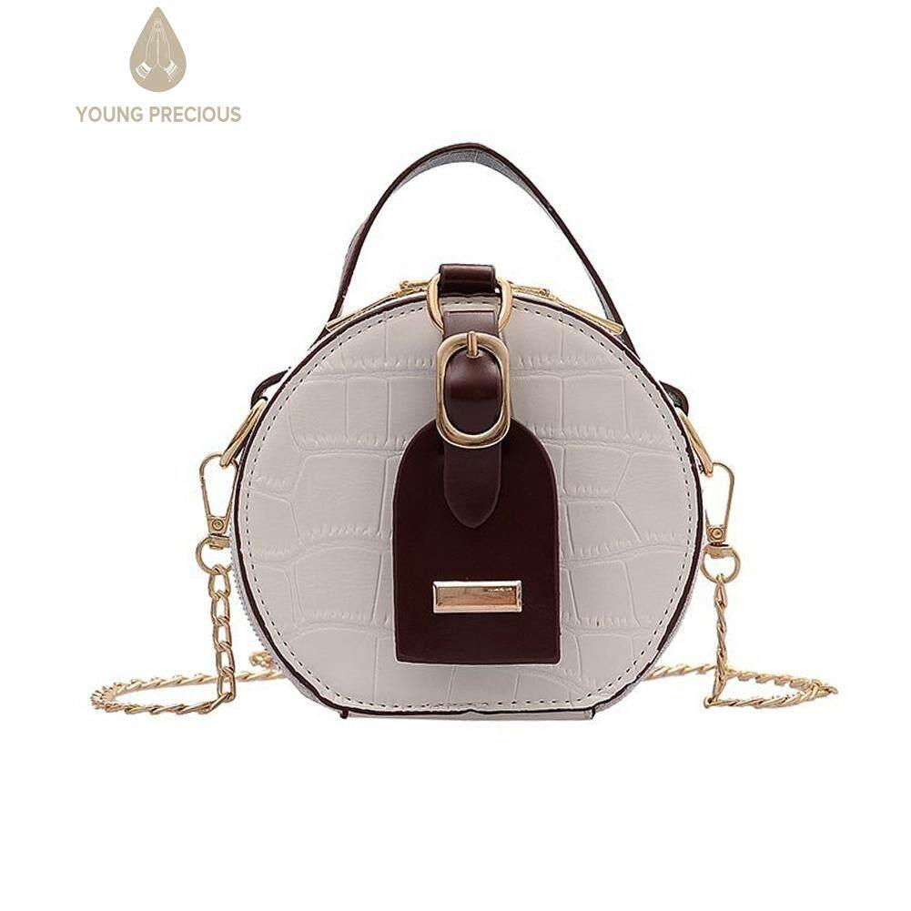 Túi đeo vai chất liệu da PU dáng tròn nữ tính kiểu dáng đơn giản phối màu thanh lịch Mini