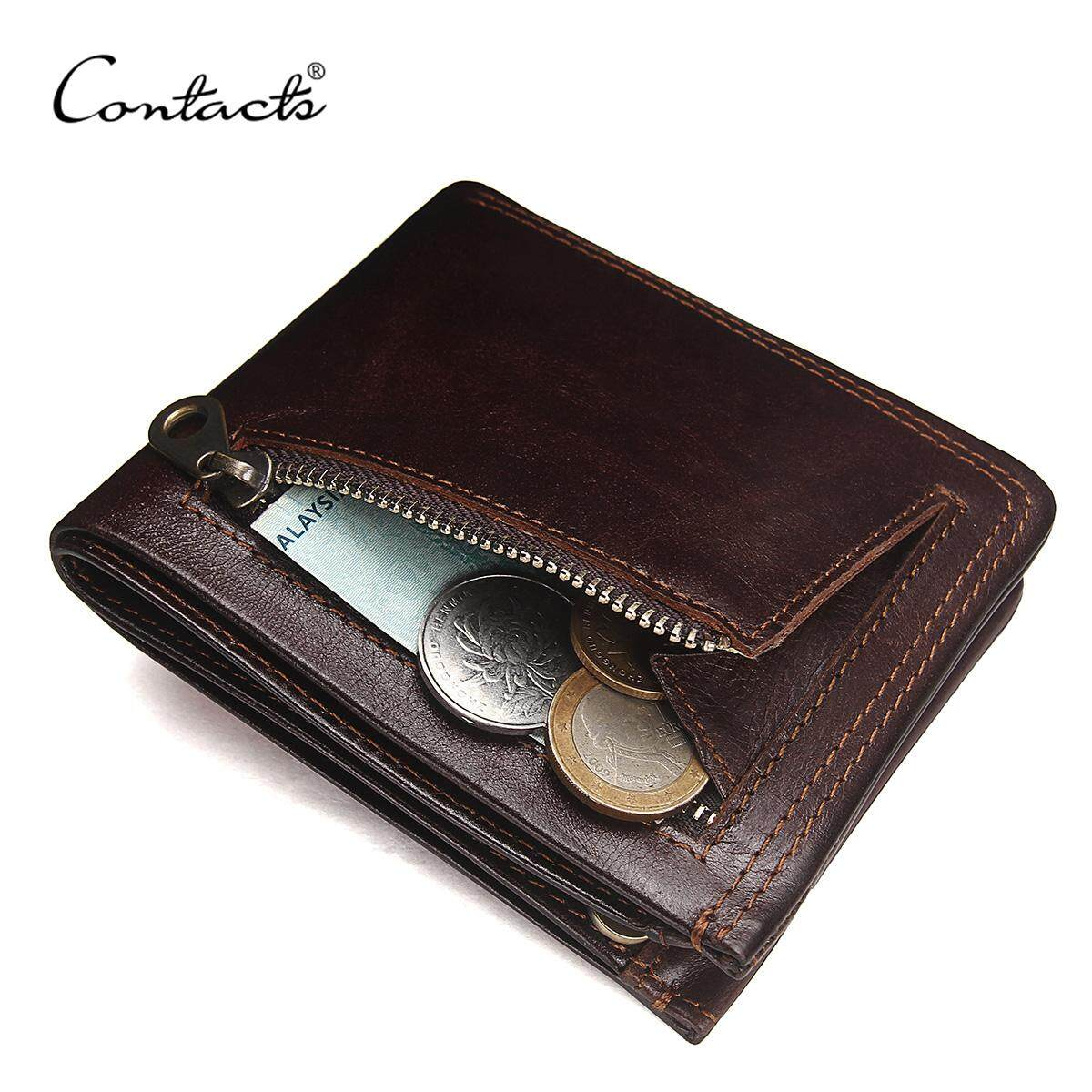 1623091c9 CONTACT'S Genuine Leather Men Wallets Fashion Brand Bifold Design Men Coin Purse  High Quality Male Card