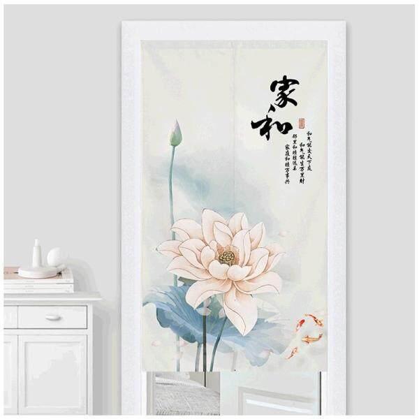modern Chinese style Lotus Long Door Curtains With rod Bedroom Room Dividers Bathroom toilet Half Door Curtain Decoration Modern kitchen cloth short Door Curtain Window curtain set