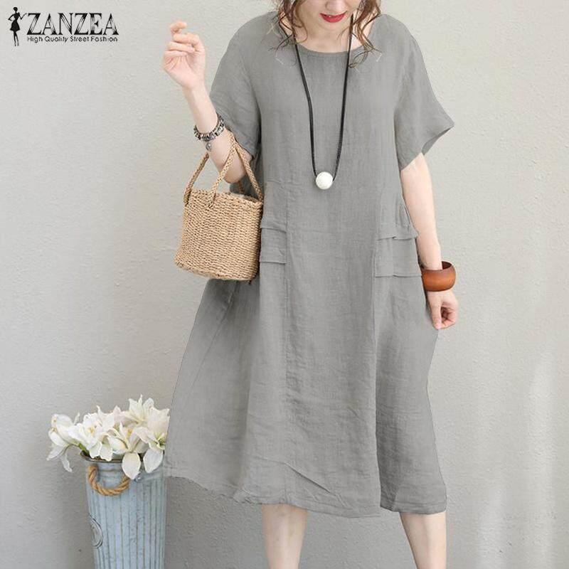 2f190665d6d ZANZEA Women Summer Cotton Sundress Party Office Work Loose Flare Plus Size  Midi Dress