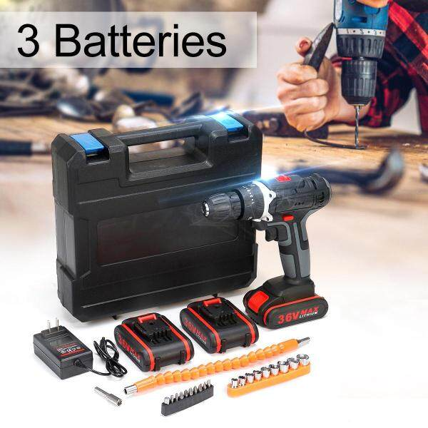 26/2728pcs Torque Double Speed Brushless Screwdriver Hammer 10mm Chuck Power Tools With LED Light(1/2/3Pcs Battery) Cordless Electric Drill 36V 6500mAh - Three electricity and one charge   accessories