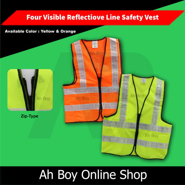 Yellow & Orange Safety Vest With Four Line Visible Reflective Line - Zip Type (Unisex Man Women)
