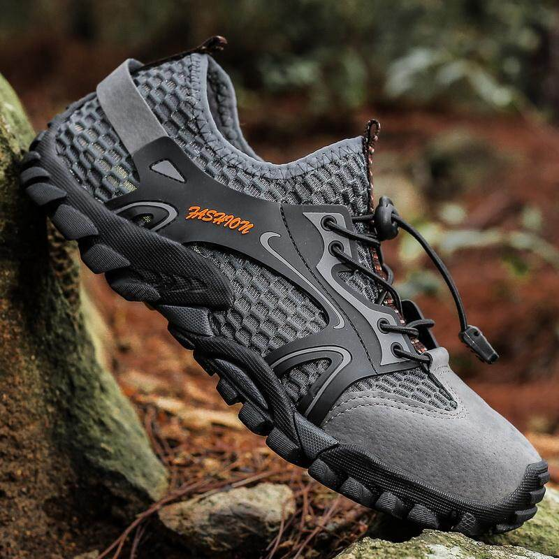 1a242b2becb0f Plus Size 39-46 Hiking Shoes Men Quick Dry Waterproof Shoes Mesh Beach  Outdoor Hiking