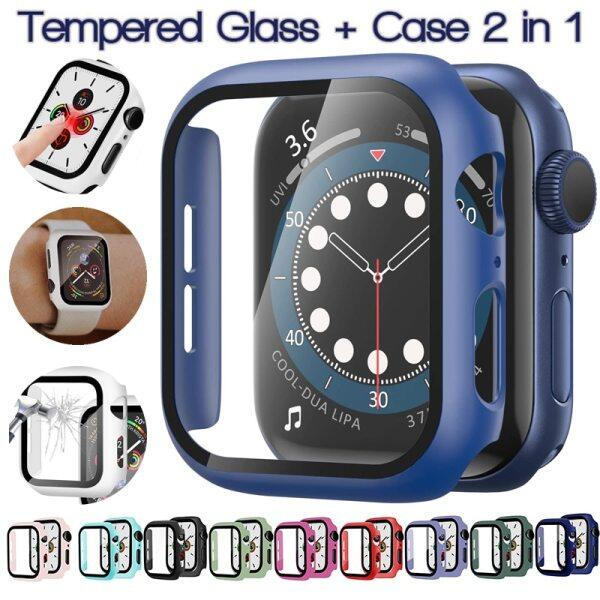 Ốp Lưng Cho Apple Watch Nắp 6/SE/5 3/2/1 Tempered Glass Phim Bảo Vệ Màn Hình Bumper Khung Cho Tôi Xem Loạt 6 5 4 38 40 42 44Mm