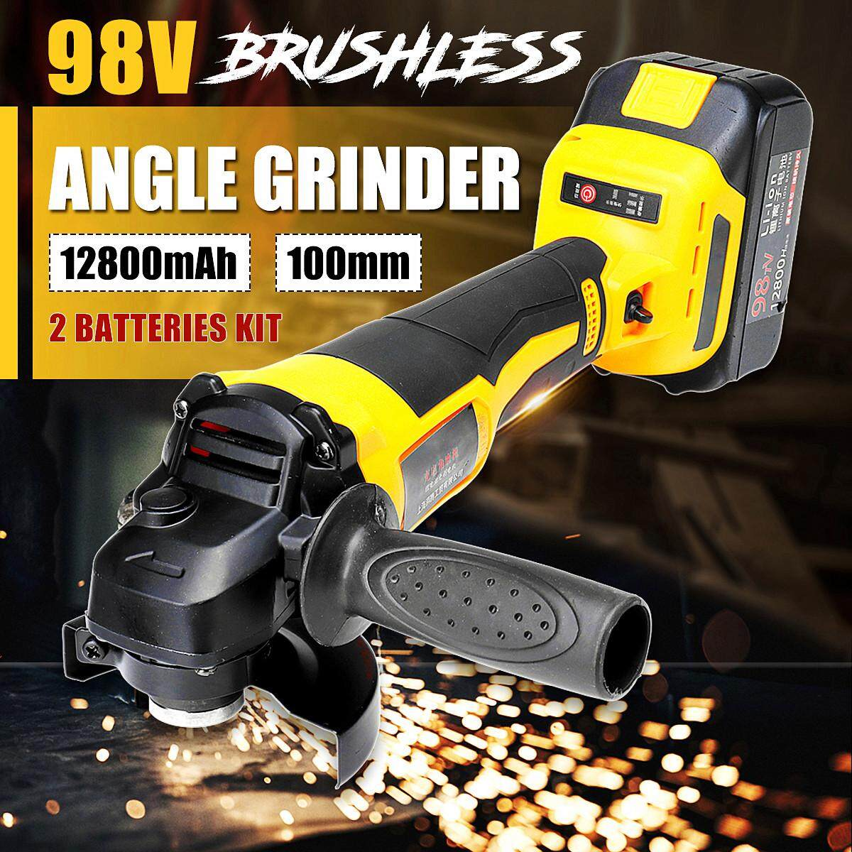 Wireless Brushless Angle Grinder + 98V 12800mAh Li-Ion Battery + Accessories