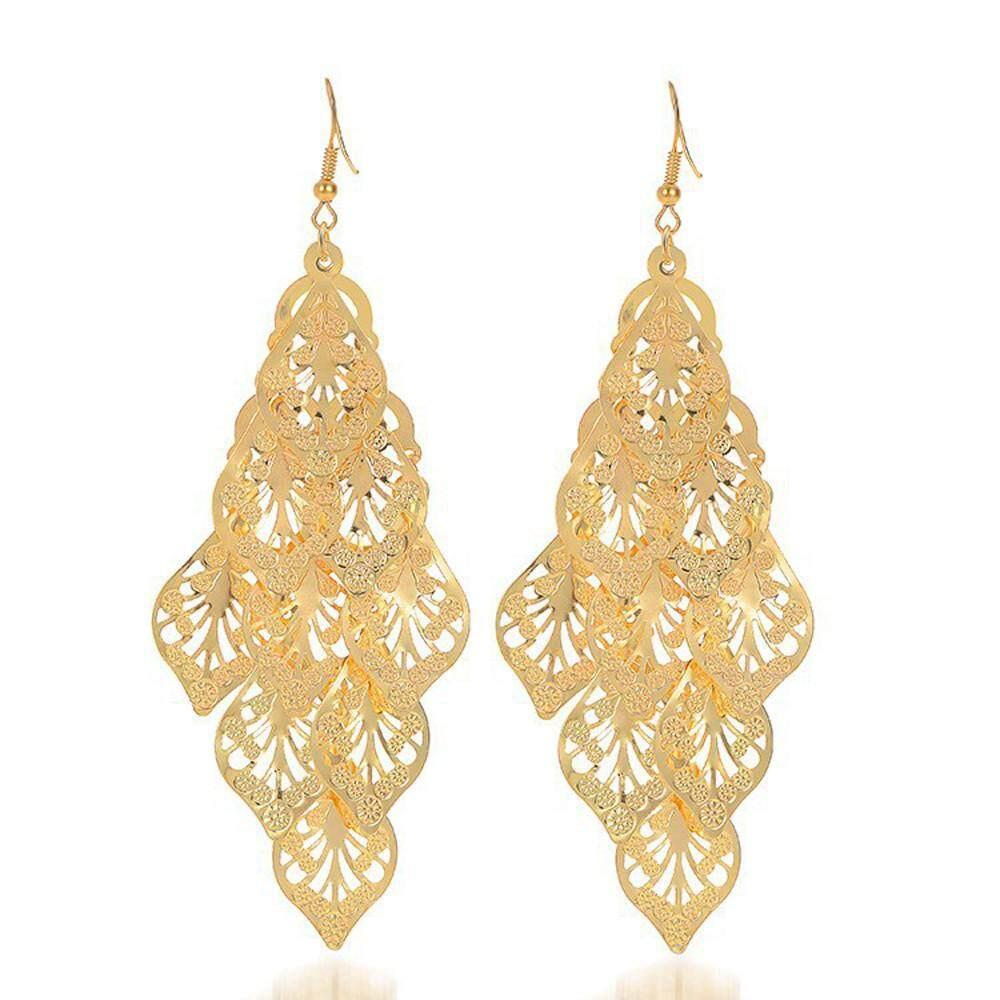 Vintage Daun Panjang Anting Gantung Antik Gold/Warna Perak Perhiasan Wanita