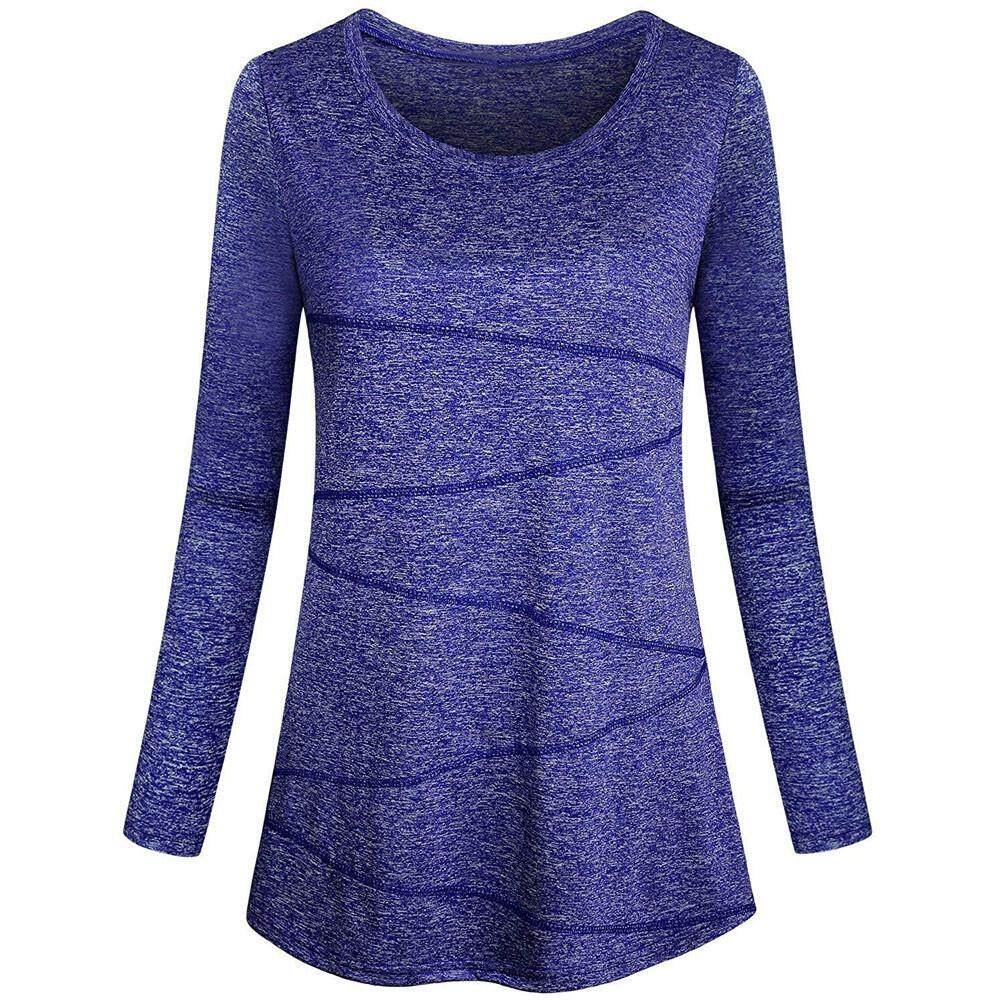 4db8f833ca Women Long Sleeve Solid Yoga Tops Round Neck Loose Fitting Athletic Shirt