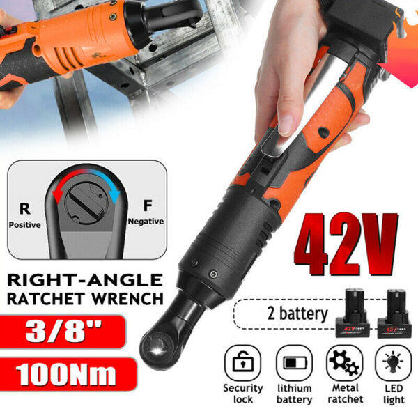 42V 3/8 100Nm Electric Cordless Ratchet Brushless Wrench 90° Right Angle with 2 Battery and Charger