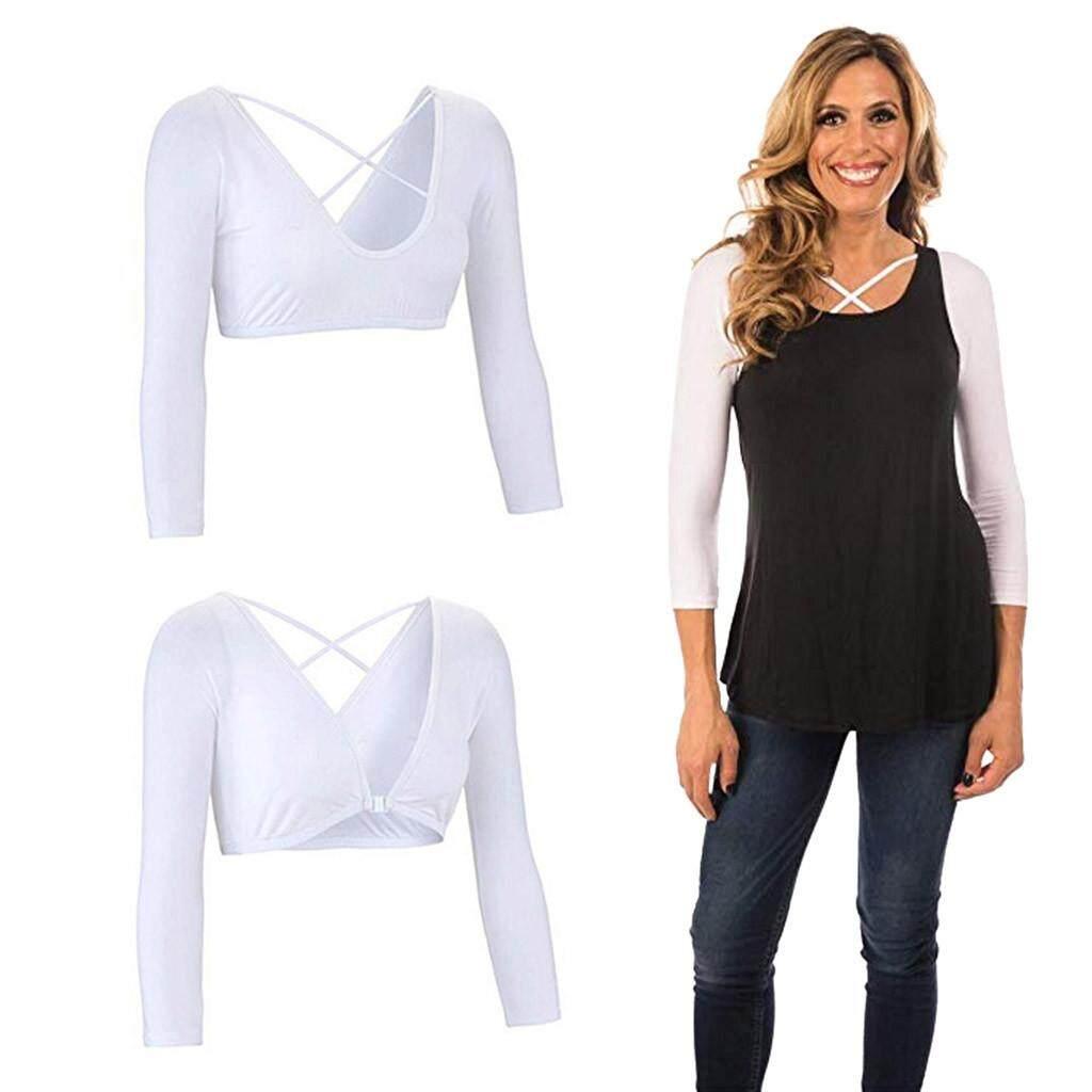 Women Both Side Wear Sheer Plus Size Seamless Arm Shaper Crop Top Shirt  Blouses ce21cb0fe1b8
