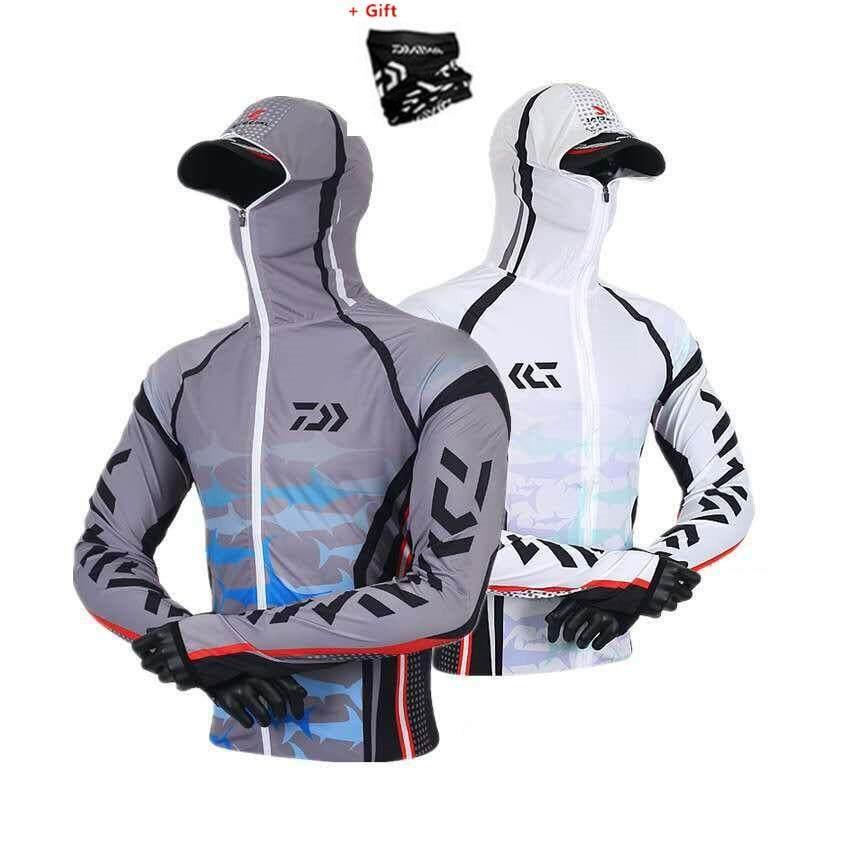 0f9e4ef90c9 DAIWA Men Fishing Jackets Outdoor Hooded Zipper Fishing Shirts Quick Dry  Anti UV Fishing Clothing with