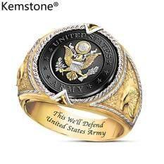 Kemstone Mạ Vàng Thời Trang Huy Hiệu Quân Đội Liên Bang Hoa Kỳ Slogan Này Chúng Tôi Sẽ Bảo Vệ Món Quà Trang Sức Nhẫn Cho Nam Giới