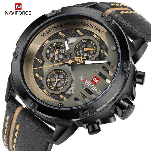 Top Brand Luxury Watches Mens NAVIFORCE Men Sports Watches Men Leather Quartz Date Clock 30m Waterproof Luminous Man Military Bracelet Watch 9110 Malaysia