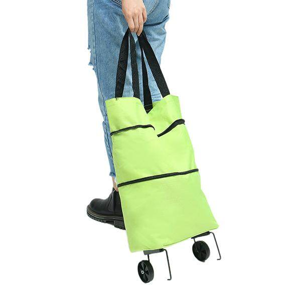 Folding car multi-purpose wheel package portable shopping bag#Green