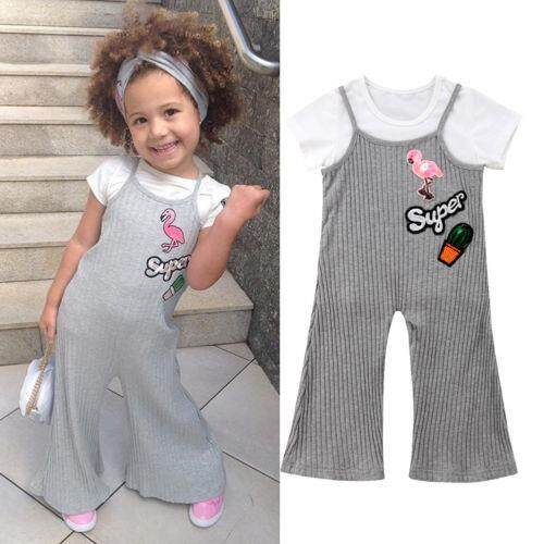a3cd8d2e91d3 Newborn Kid Baby Girl Flamingo Tops T-shirt+Bell Bottoms Pants Outfit  Clothes