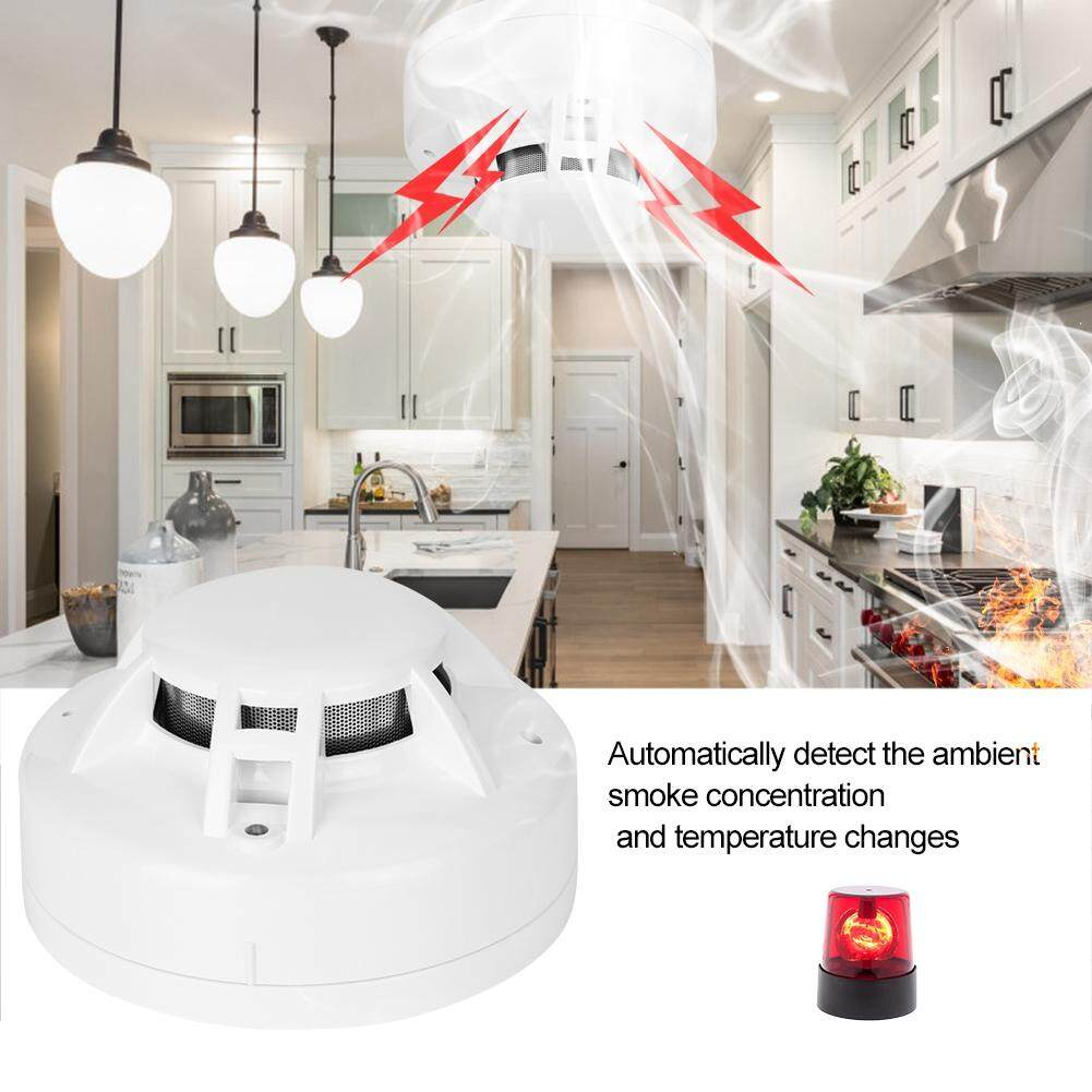Wired Photoelectric Smoke & Heat Detector with Sounder & Relay DC9V-28V