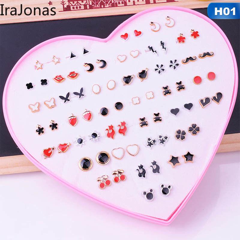 Bộ 36 khuyên tai IraJonas cho nữ, bông tai phong cách Hàn Quốc kiểu dáng dễ thương, tinh tế