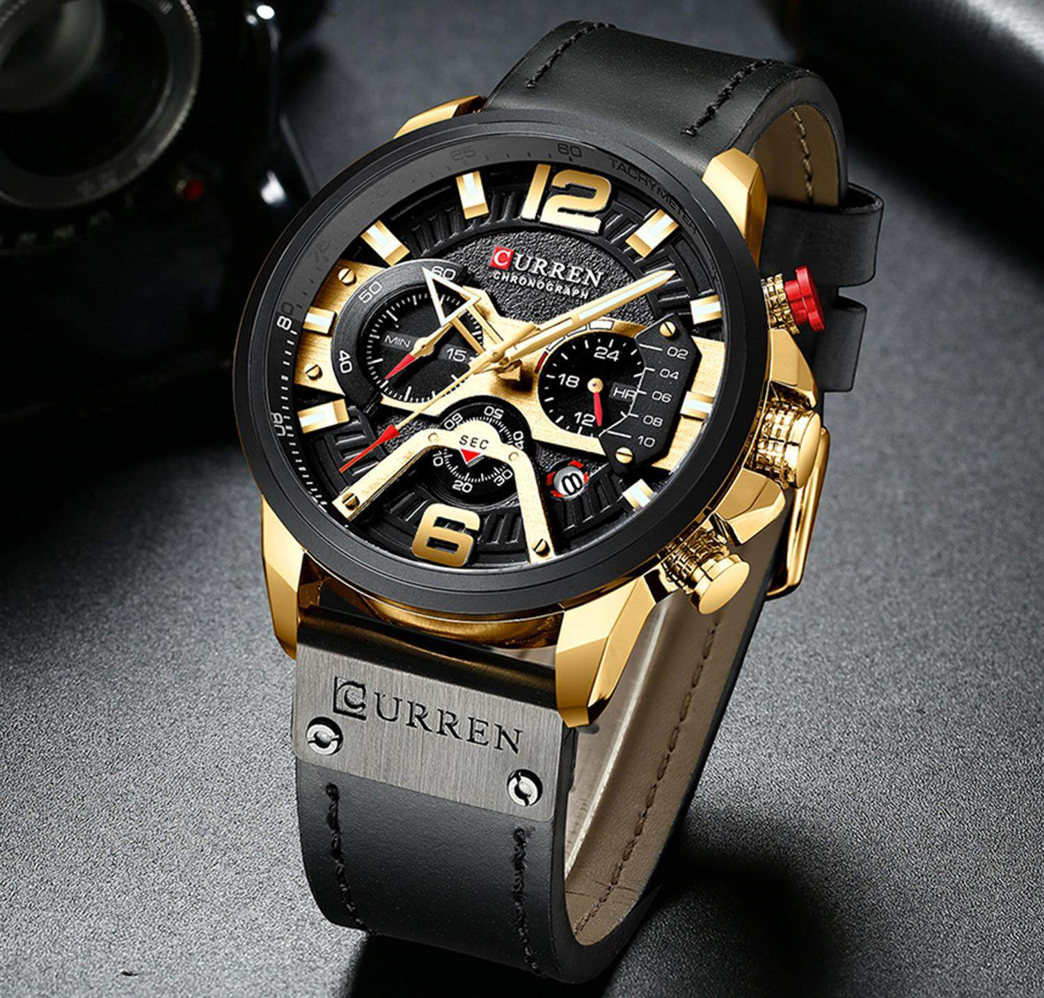CURREN Men Watches Quartz Watch For Man Leather Strap Japanese Movement Chronograph Calendar Date Waterproof Shockproof 8329 Malaysia