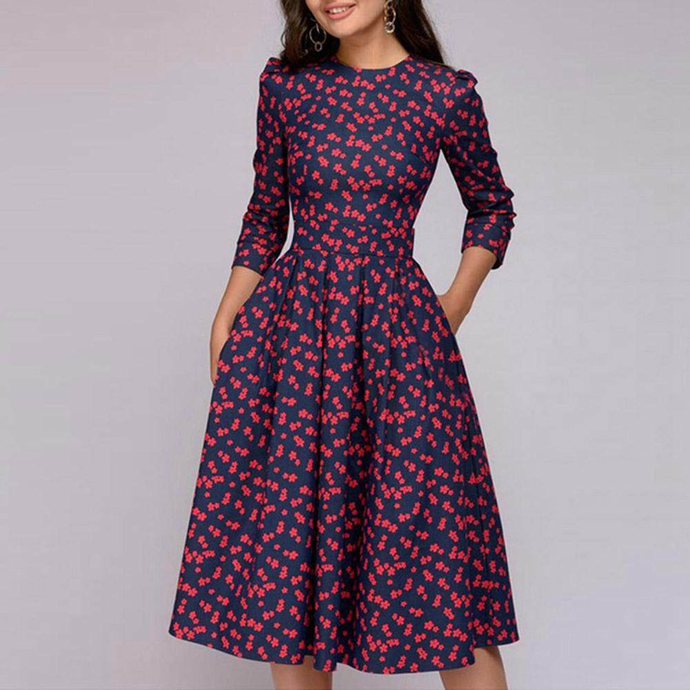 9c330f5e [Ready Stock]ClothC MallWomen A-Line Dress Spring Autumn Casual Print  Vintage Dress