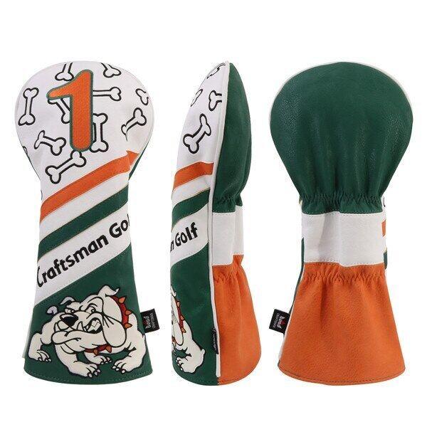 Bọc Đầu Golf Gỗ Màu Xanh Lá Cây Thợ Thủ Công Mũ Trùm Đầu Cho Tài Xế Bulldog/Fairway/Trình Điều Khiển Lai FW UT Headcovers