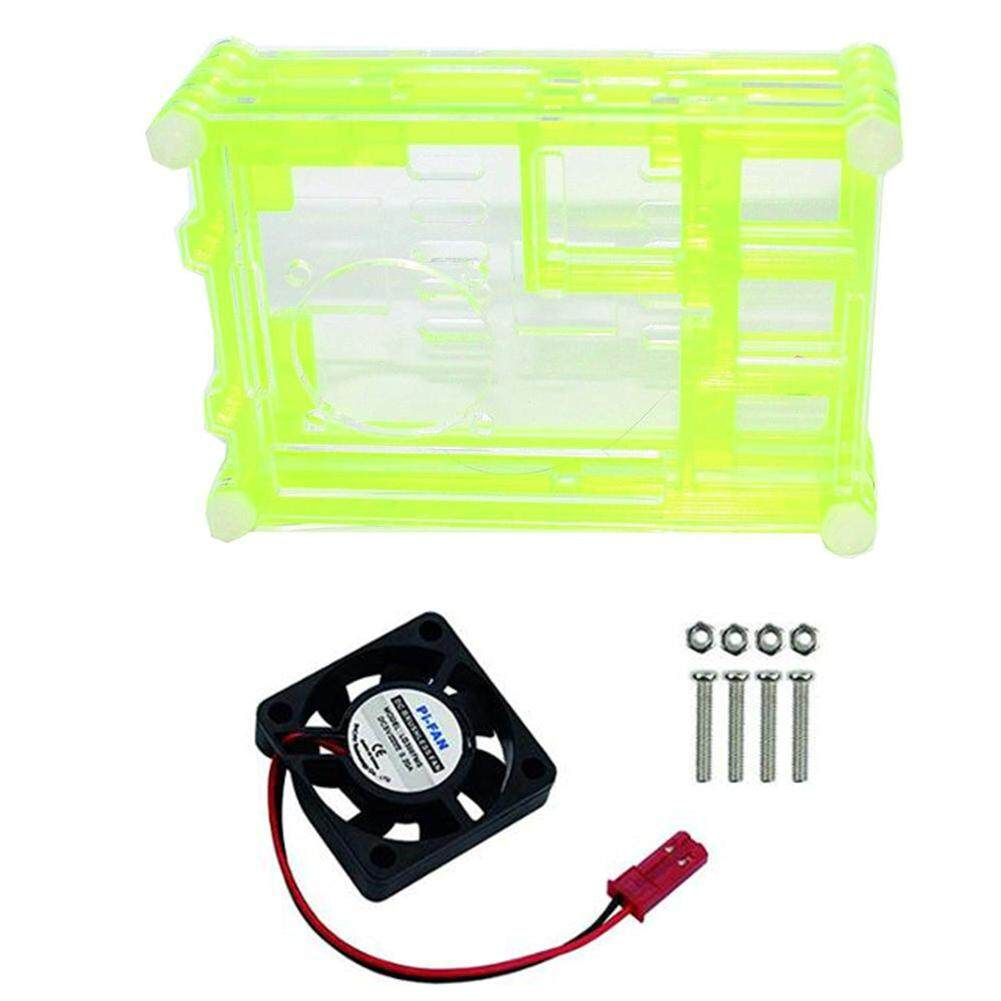 For Raspberry Pi 4 4B Development Board Motherboard Chassis without Teeth 9  Layer Acrylic Shell with Fan + Fan Cover Motherboard Case